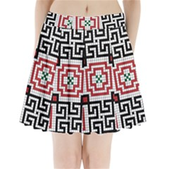 Vintage Style Seamless Black White And Red Tile Pattern Wallpaper Background Pleated Mini Skirt