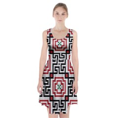Vintage Style Seamless Black White And Red Tile Pattern Wallpaper Background Racerback Midi Dress