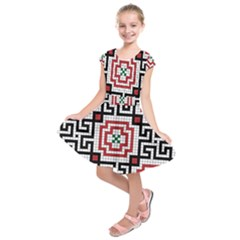 Vintage Style Seamless Black White And Red Tile Pattern Wallpaper Background Kids  Short Sleeve Dress