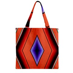 Diamond Shape Lines & Pattern Zipper Grocery Tote Bag