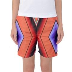 Diamond Shape Lines & Pattern Women s Basketball Shorts