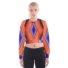 Diamond Shape Lines & Pattern Women s Cropped Sweatshirt