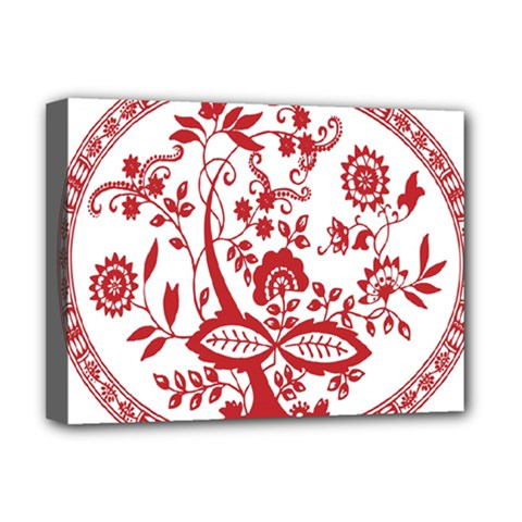 Red Vintage Floral Flowers Decorative Pattern Deluxe Canvas 16  x 12
