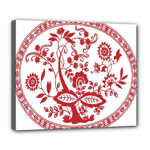 Red Vintage Floral Flowers Decorative Pattern Deluxe Canvas 24  x 20