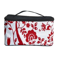 Red Vintage Floral Flowers Decorative Pattern Cosmetic Storage Case