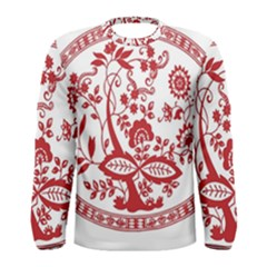 Red Vintage Floral Flowers Decorative Pattern Men s Long Sleeve Tee