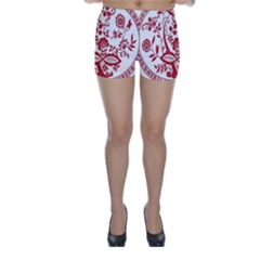 Red Vintage Floral Flowers Decorative Pattern Skinny Shorts