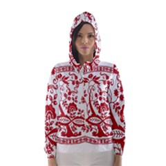 Red Vintage Floral Flowers Decorative Pattern Hooded Wind Breaker (women)