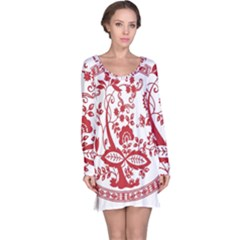Red Vintage Floral Flowers Decorative Pattern Long Sleeve Nightdress
