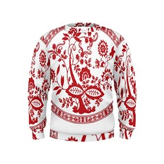 Red Vintage Floral Flowers Decorative Pattern Kids  Sweatshirt