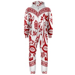 Red Vintage Floral Flowers Decorative Pattern Hooded Jumpsuit (men)