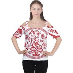 Red Vintage Floral Flowers Decorative Pattern Women s Cutout Shoulder Tee