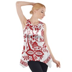 Red Vintage Floral Flowers Decorative Pattern Side Drop Tank Tunic