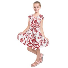 Red Vintage Floral Flowers Decorative Pattern Kids  Short Sleeve Dress