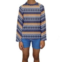 Abstract Elegant Background Pattern Kids  Long Sleeve Swimwear