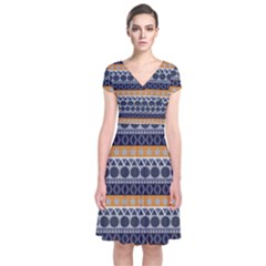 Abstract Elegant Background Pattern Short Sleeve Front Wrap Dress
