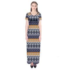 Abstract Elegant Background Pattern Short Sleeve Maxi Dress