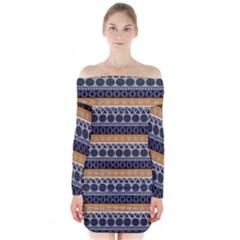 Abstract Elegant Background Pattern Long Sleeve Off Shoulder Dress