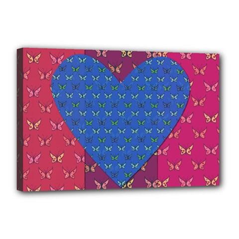 Butterfly Heart Pattern Canvas 18  X 12