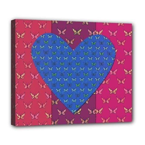 Butterfly Heart Pattern Deluxe Canvas 24  x 20