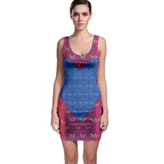 Butterfly Heart Pattern Sleeveless Bodycon Dress
