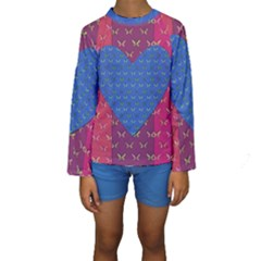Butterfly Heart Pattern Kids  Long Sleeve Swimwear