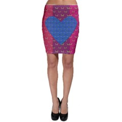 Butterfly Heart Pattern Bodycon Skirt