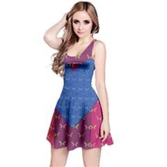 Butterfly Heart Pattern Reversible Sleeveless Dress