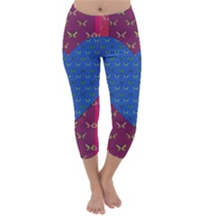 Butterfly Heart Pattern Capri Winter Leggings