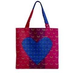 Butterfly Heart Pattern Zipper Grocery Tote Bag