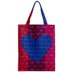 Butterfly Heart Pattern Zipper Classic Tote Bag