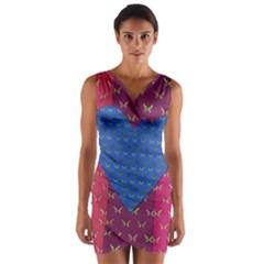 Butterfly Heart Pattern Wrap Front Bodycon Dress