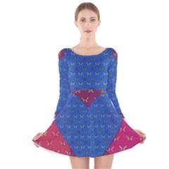 Butterfly Heart Pattern Long Sleeve Velvet Skater Dress