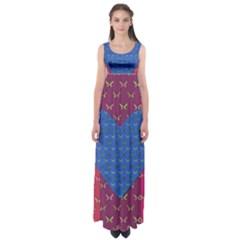 Butterfly Heart Pattern Empire Waist Maxi Dress