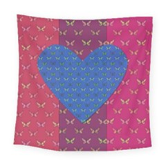 Butterfly Heart Pattern Square Tapestry (large)