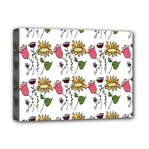 Handmade Pattern With Crazy Flowers Deluxe Canvas 16  x 12
