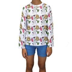 Handmade Pattern With Crazy Flowers Kids  Long Sleeve Swimwear