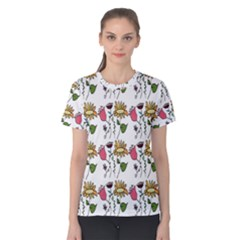 Handmade Pattern With Crazy Flowers Women s Cotton Tee