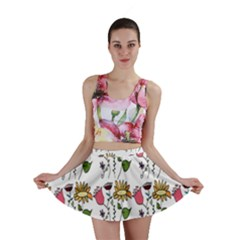 Handmade Pattern With Crazy Flowers Mini Skirt