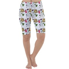 Handmade Pattern With Crazy Flowers Cropped Leggings