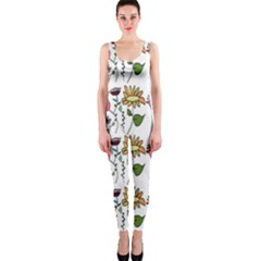 Handmade Pattern With Crazy Flowers OnePiece Catsuit