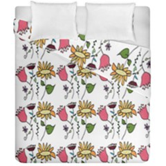 Handmade Pattern With Crazy Flowers Duvet Cover Double Side (california King Size)