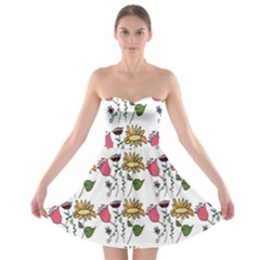 Handmade Pattern With Crazy Flowers Strapless Bra Top Dress
