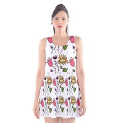 Handmade Pattern With Crazy Flowers Scoop Neck Skater Dress