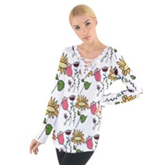 Handmade Pattern With Crazy Flowers Women s Tie Up Tee