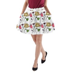 Handmade Pattern With Crazy Flowers A Line Pocket Skirt