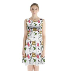 Handmade Pattern With Crazy Flowers Sleeveless Chiffon Waist Tie Dress
