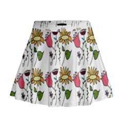 Handmade Pattern With Crazy Flowers Mini Flare Skirt
