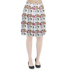 Handmade Pattern With Crazy Flowers Pleated Skirt