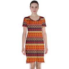 Abstract Lines Seamless Pattern Short Sleeve Nightdress